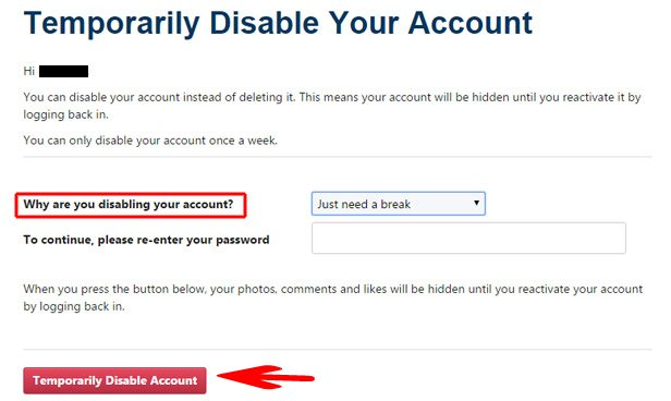 Temporarily Disable Account