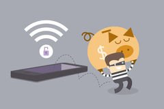 mobile-phone-crime-concept-thief-stealing-money-insecure-network-46076378